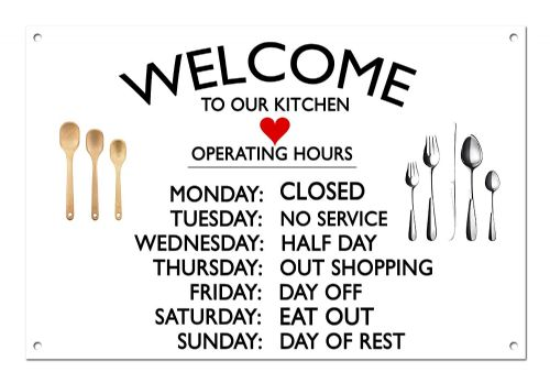 Welcome to Our Kitchen Aluminium Metal Sign-White